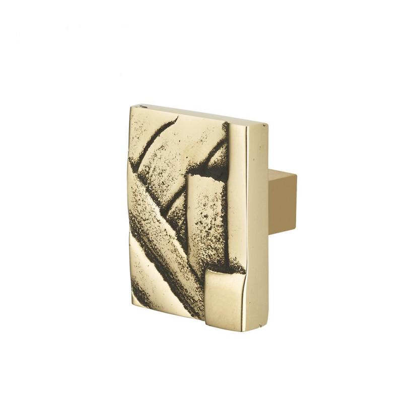 Bouton De Meuble Carre Art Deco En Laiton Chrome Brillant Et Francais